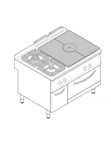 Piano di cottura a gas su vano a perto 2 fuochi con 1 piastra cm 76 6x68 3 fuochi aperti 1x5 - Consumo gas cucina ...
