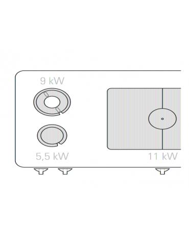 Cucina a gas 2 fuochi, 1 piastra, forno a gas GN 2/1, fuochi aperti 1x5,5kw + 1x9kw - cam. forno cm 57,5x65x30 - cm 120x90x90h