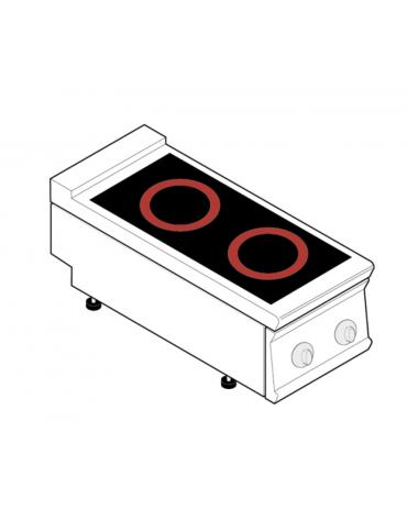 Piano di cottura elettrico trifase-6,8kw, con 2 piani di cottura in vetroceramica - cm 40x90x28h