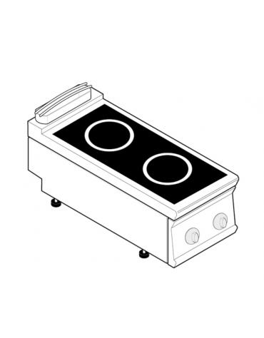 Piano di cottura ad induzione trifase-10kw, con 2 piani di cottura - cm 40x90x28h