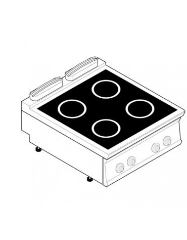 Piano di cottura ad induzione trifase-20kw, con 4 piani di cottura - cm 80x90x28h