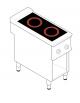 Piano di cottura elettrico trifase-6,8kw su vano aperto cm 33x76,1x39,5h, 2 piani di cottura in vetroceramica - cm 40x90x90h