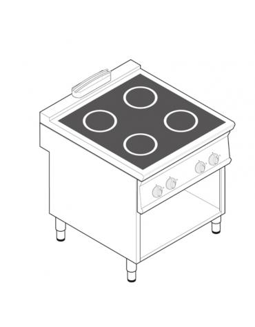 Piano di cottura ad induzione trifase-20kw su vano aperto cm 73x57,4x39,5h, 2 piani di cottura - cm 80x90x90h