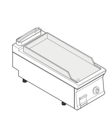 Fry top elettrico trifase-6kw da banco, piastra liscia, r. temp. 50÷320 °C - sup. di cottura cm 34,9x69,8  - dim. 40x90x28h