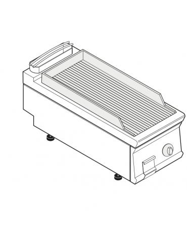 Fry top elettrico trifase-6kw da banco, piastra rigata, r. temp. 50÷320 °C - sup. di cottura cm 34,9x69,8  - dim. 40x90x28h