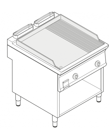 Fry top elettrico trifase-12kw su vano aperto, 1/3 piastra rigata - con controllo elettronico - dim. 80x90x90h