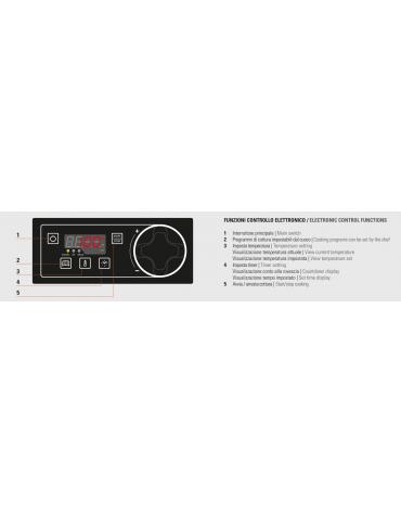 Fry top elettrico trifase-12kw su vano aperto, 1/3 piastra rigata, 2/3 liscia, con controllo elettronico - dim. 80x90x90h