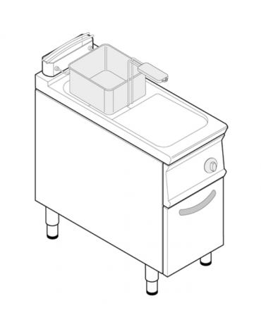 "Friggitrice a gas freestanding, 1 vasca con vasca a ""V"" 17lt - cm tot. 40x90x90h"