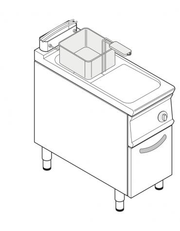 Friggitrice a gas freestanding, 1 vasca con scambiatori di calore - 17lt - cm 40x90x90h