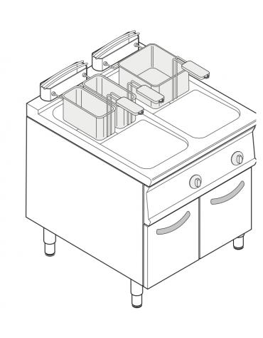 Friggitrice a gas freestanding, 2 vasche con scambiatori di calore - 17 + 17lt - cm 80x90x90h