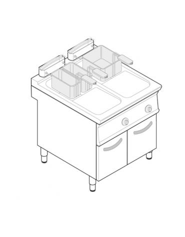 Friggitrice elettrica su mobile trifase-33kw - 2 vasche con resistenze rotanti 17 + 17Lt. - cm 80x90x90h