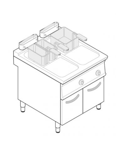 Friggitrice elettrica su mobile trifase-40kw - 2 vasche con resistenze rotanti 21 + 21Lt. - cm 80x90x90h