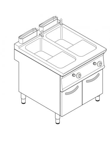 Cuocipasta a gas, GN1/1 - AISI 316 da 40+40 litri di capacità - cm 80x90x90h
