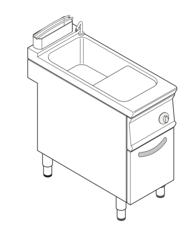 Cuocipasta elettrico trifase-9kw, in acciaio in acciaio inox AISI 316, 1 vasca da 40 litri di capacità - cm 40x90x90h