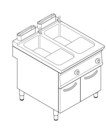 Cuocipasta elettrico trifase-18kw, inox AISI 316, 2 vasche da 40+40 litri di capacità - cm 80x90x90h