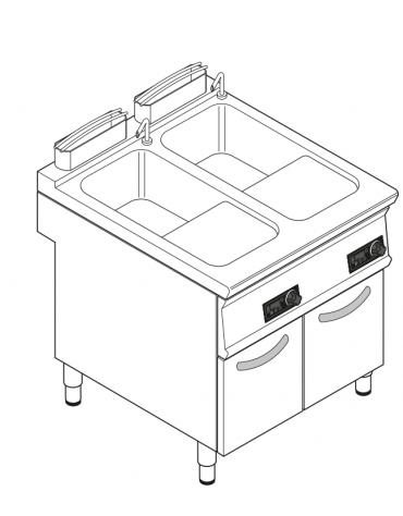 Cuocipasta elettrico trifase-18kw con controllo elettronico, inox AISI 316, 1 vasca da 40+40 litri di capacità - cm 80x90x90h