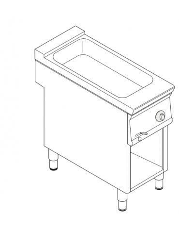 Bagnomaria elettrico da banco trifase-3kw su vano aperto, 1 vasca AISI 304 - GN1/3 dim. cm 30,8x68,6x16h - dim tot. cm 40x90x90h
