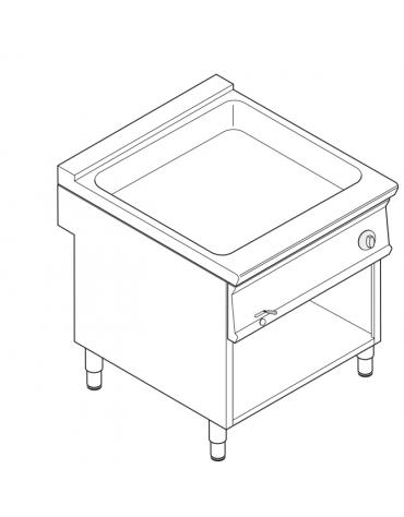 Bagnomaria elettrico da banco trifase-4,5kw su vano aperto, 1 vasca AISI 304 - GN1/3 dim. cm 63x68,6x16h - dim tot. cm 80x90x90h