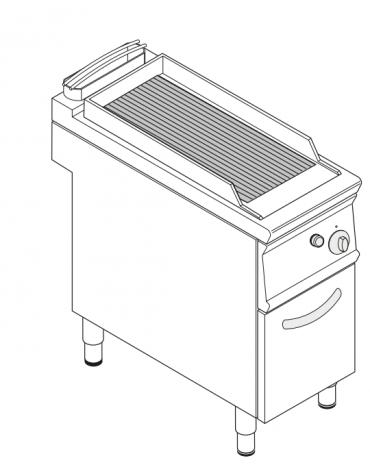 Griglia in ghisa ad acqua a gas singola, sup. di cottura cm 27,5x59, con mobiletto chiuso cm 40x90x90h