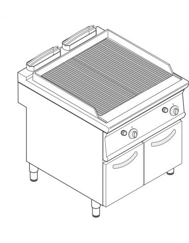 Griglia in ghisa ad acqua a gas doppia, sup. di cottura cm 67x59, con mobiletto chiuso cm 80x90x90h