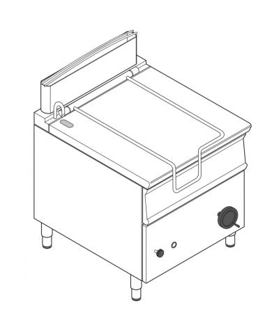 Brasiera a gas ribaltabile manuale con vasca inox, 1 vasca cm 72x61x22,5h con capacità 80lt - cm 80x90x90h