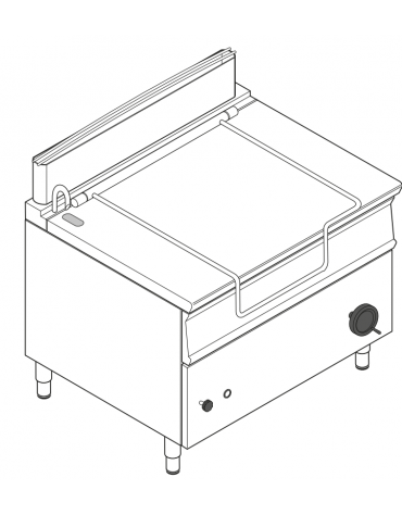 Brasiera a gas ribaltabile manuale con vasca inox, 1 vasca cm 110x61x22,5h con capacità 120lt - cm 120x90x90h