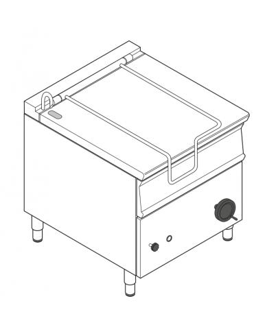 Brasiera elettrica ribaltabile manuale con vasca inox AISI 304, 1 vasca cm 72x61x22,5 - capacità 80lt - cm 80x90x90h