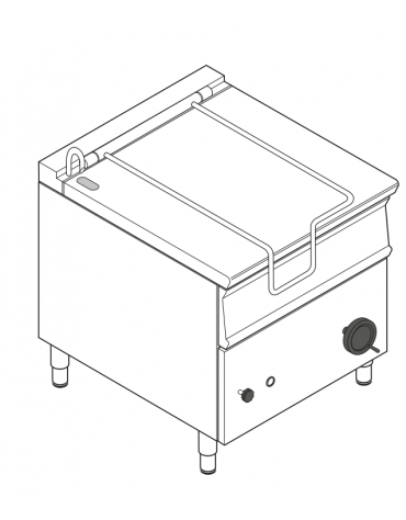 Brasiera elettrica ribaltabile motorizzato con vasca inox AISI 304, 1 vasca cm 72x61x22,5 - capacità 80lt - cm 80x90x90h