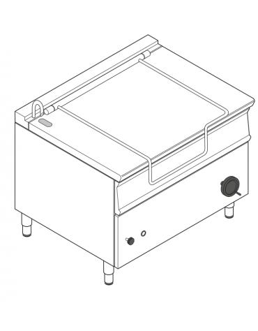 Brasiera elettrica ribaltabile manuale con vasca inox AISI 304, 1 vasca cm 110x61x22,5 - capacità 120lt - cm 120x90x90h