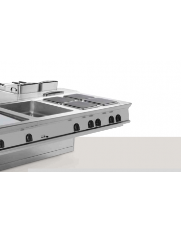 Piano di lavoro in acciaio inox con piano rinforzato ed accessoriabile con tagliere in plastica, senza cassetto - cm 80x90x28h