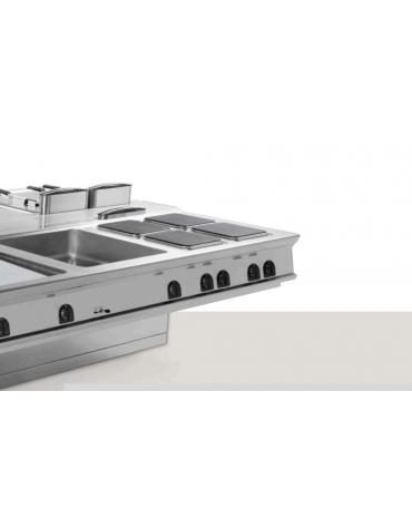 Piano di lavoro in acciaio inox con piano rinforzato ed accessoriabile con tagliere in plastica, 1 cassetto - cm 80x90x28h
