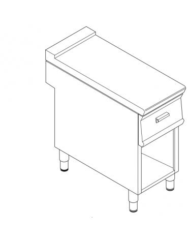 Piano di lavoro in acciaio inox con piano rinforzato, con cassetto su vano aperto cm 33x76,1x39,5h - dim tot. cm 40x90x90h