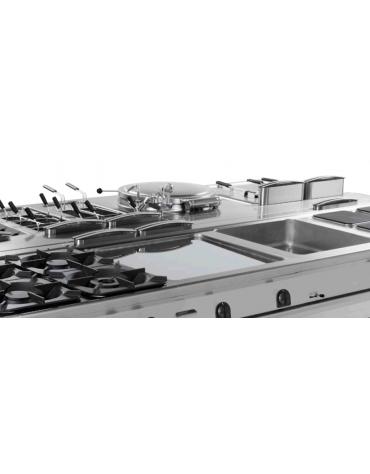 Piano di lavoro in acciaio inox con piano rinforzato, con cassetto su vano aperto cm 77x76,1x39,5h - dim tot. cm 80x90x90h