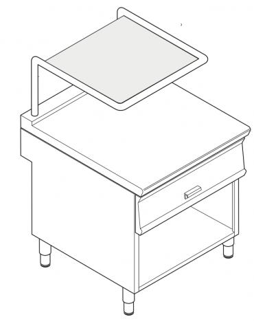 Piano di lavoro inox con piano rinforzato, con cassetto su vano aperto cm 77x76,1x39,5h e supporto salamandra - cm 80x90x90h