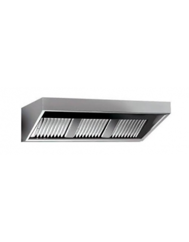 Cappa professionale a parete snack inox con filtri a labirinto per cucine professionali cm 100x70x45h