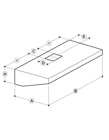 Cappa professionale a parete snack inox con aspiratore incorporato, filtri a labirinto per cucine professionali cm 200x70x45h