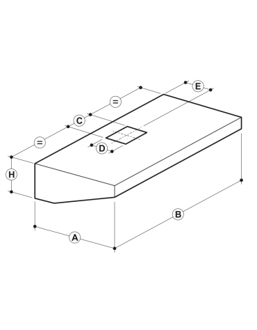 Cappa professionale a parete snack inox con aspiratore incorporato, filtri a labirinto per cucine professionali cm 240x90x45h