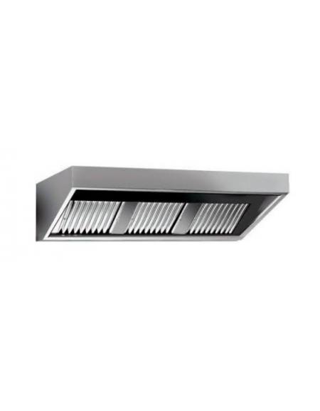 Cappa professionale a parete snack inox con aspiratore incorporato, filtri  a labirinto per cucine professionali cm 280x110x45h