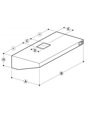Cappa professionale a parete snack inox con aspiratore incorporato, lampada e filtri a labirinto per cucine - cm 200x70x45h