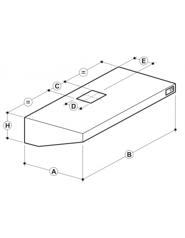 Cappa professionale a parete snack inox con aspiratore incorporato, lampada e filtri a labirinto per cucine - cm 160x90x45h