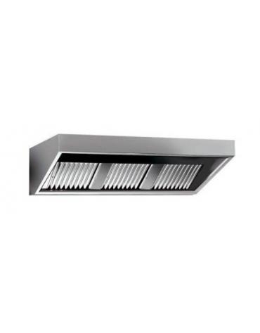 Cappa professionale a parete snack inox con aspiratore incorporato, lampada e filtri a labirinto per cucine - cm 240x110x45h