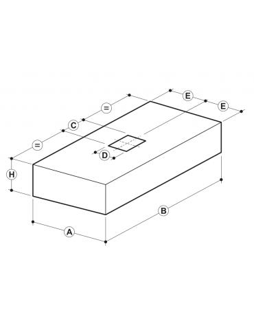 Cappa professionale a parete cubica inox con filtri a labirinto per cucine professionali cm 200x90x45h