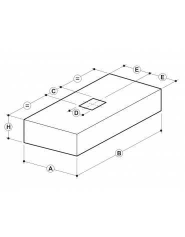 Cappa professionale a parete cubica inox con filtri a labirinto per cucine professionali cm 200x110x45h