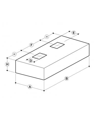 Cappa professionale a parete cubica inox con filtri a labirinto per cucine professionali cm 360x140x45h