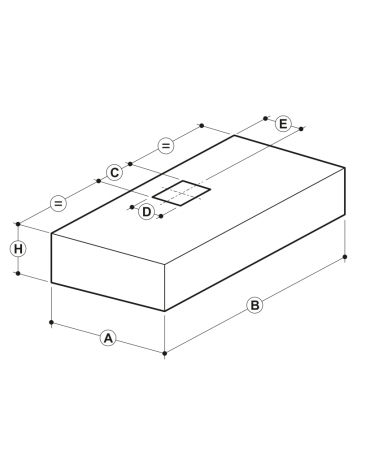 Cappa professionale a parete cubica inox con aspiratore incorporato, filtri a labirinto per cucine professionali cm 180x90x45h