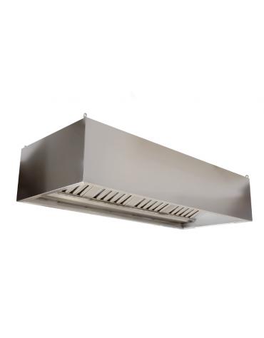 Cappa professionale a parete cubica inox con aspiratore incorporato, filtri a labirinto per cucine professionali cm 200x90x45h