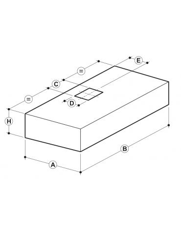Cappa professionale a parete cubica inox con aspiratore incorporato, filtri a labirinto per cucine professionali cm 200x140x45h