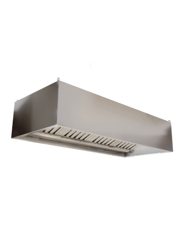 Cappa professionale centrale cubica inox con filtri a labirinto per cucine professionali cm 160x120x45h