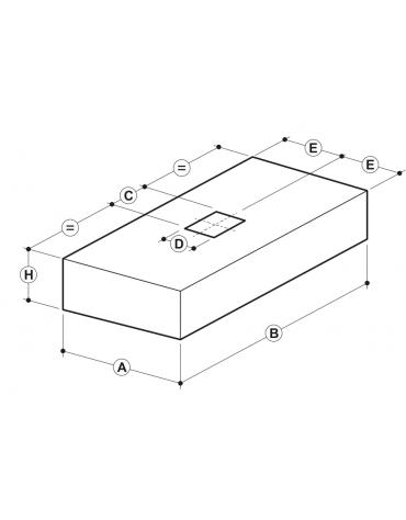 Cappa professionale centrale cubica inox con filtri a labirinto per cucine professionali cm 200x150x45h