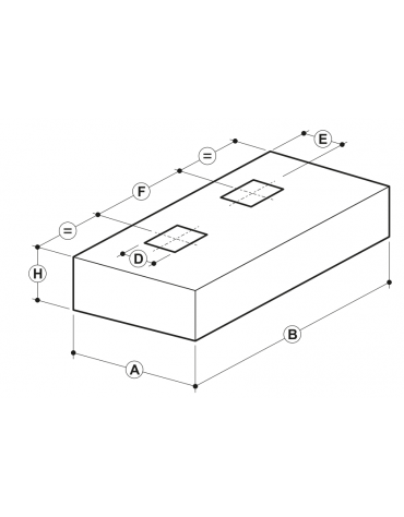 Cappa professionale centrale cubica inox con filtri a labirinto per cucine professionali cm 400x180x45h